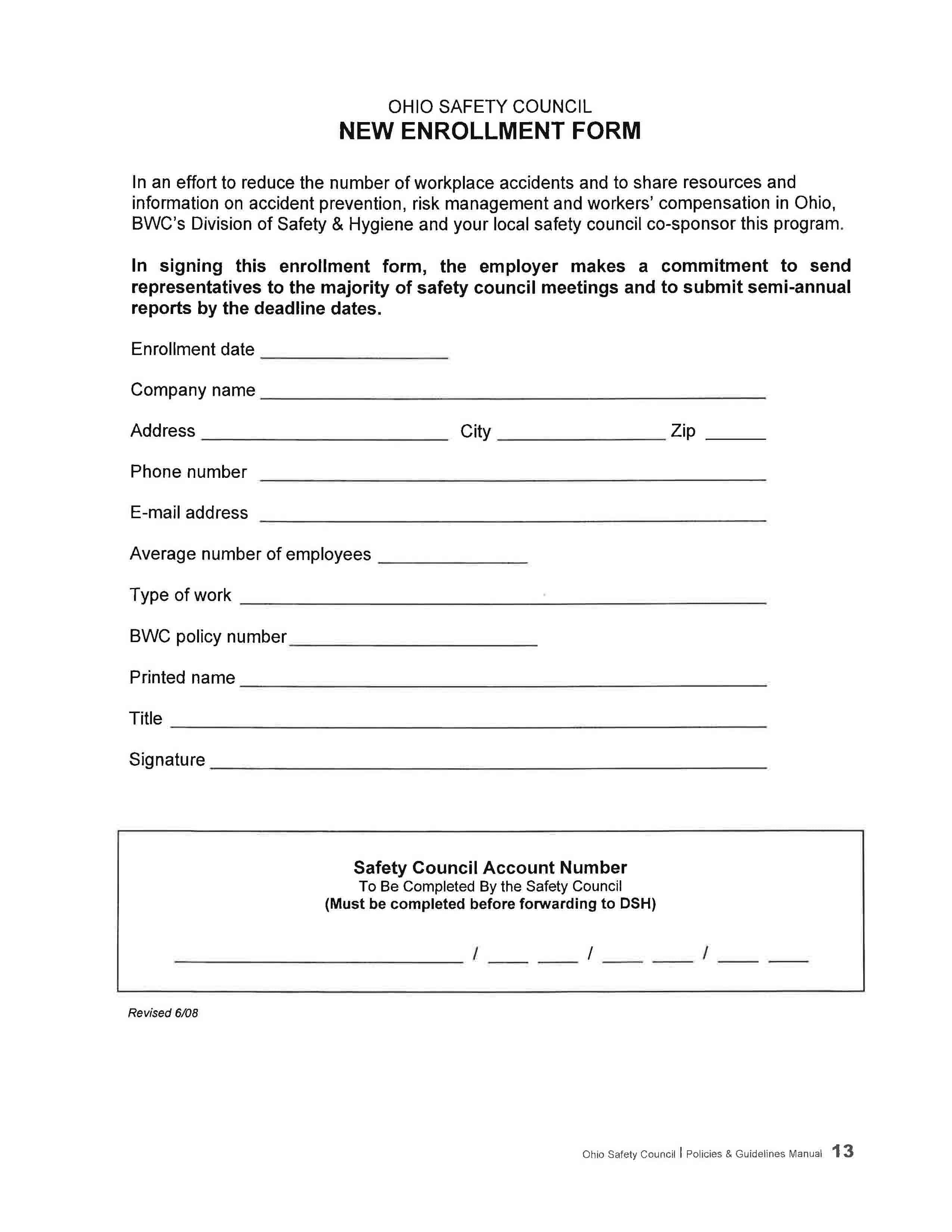 Safety Enrollment Form - Jefferson County Chamber of Commerce